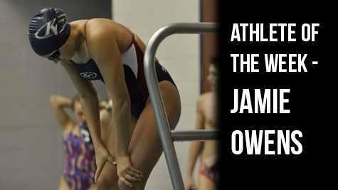 Senior Jamie Owens prepares to swim for her next event.