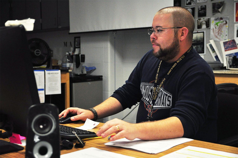 In his spare time, art teacher Chad Hardin earns extra money as a Disc Jockey.