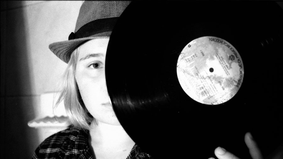 Freshman Camryn Degutis enjoys listening to vintage vinyl records.