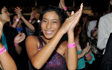 Senior Jasmin Tran dances at homecoming.