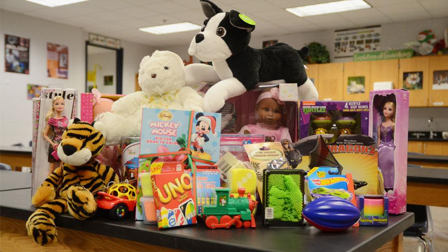 Students worked hard to collect toys for charity.