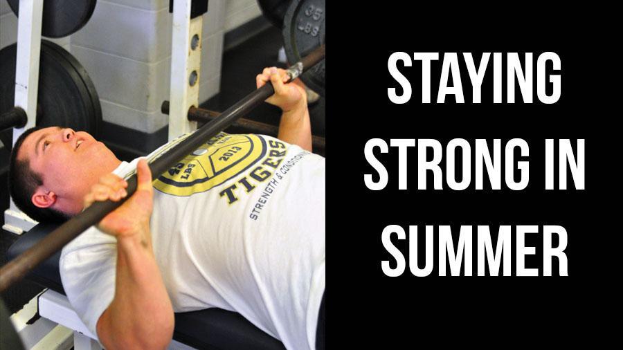 Senior Camden Ryder bench presses to maintain his strength.