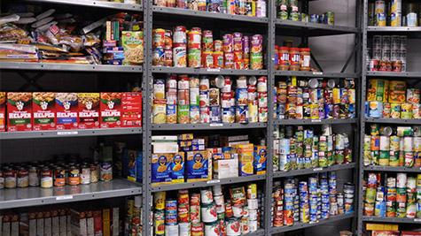 The school's food pantry is filled with a variety of food for students to take home for the holidays