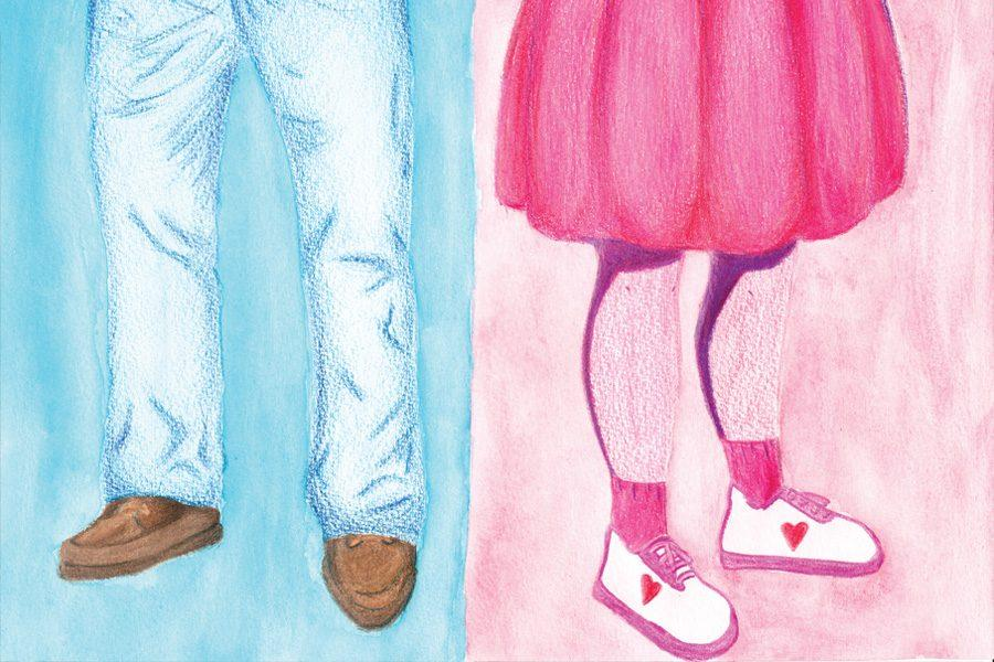 This drawing by Kristen Conklin shows the stereotypes of men and women.