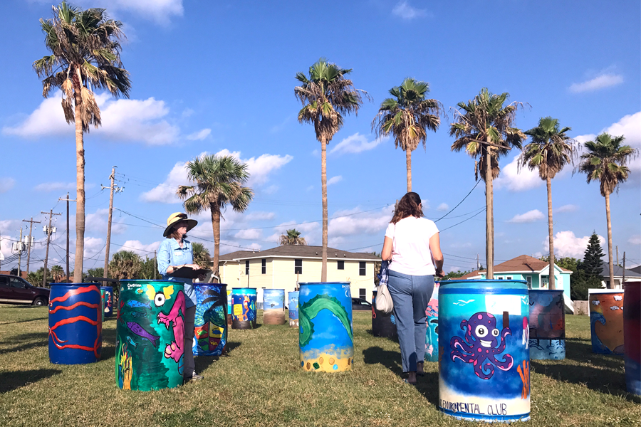 "The Environmental Club turns in their first trash barrel amongst those of many others to ""Beautify the Bucket."" ""A lot of what we do are in-school projects and not a lot of people really know about them,"