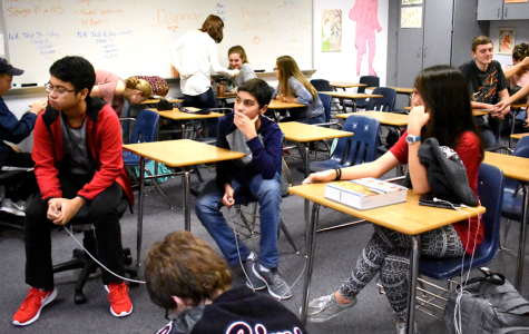 """Latin students prepare for  competition by using the Certamen machine before school starts.  """"I care about the impact of winning,"""" sophomore Arham Salman said. """"Mr. Drugan puts in a lot of time to make the Quizlets, and it would kind of be a bummer if we didn't win. We want to make Drugan proud."""""""