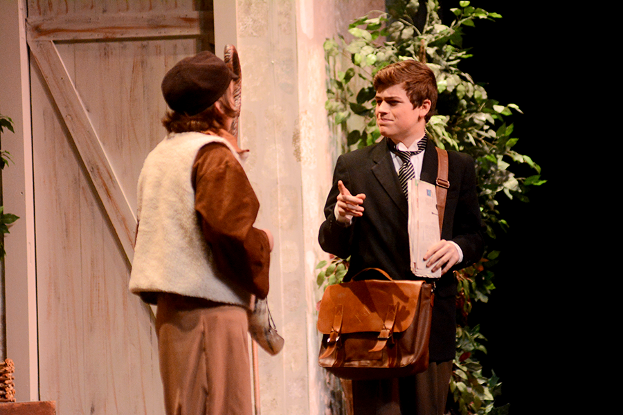 Leon Tolchinsky, played by sophomore Christopher Freitas (right) talks with Snetsky, played by freshman Manny Tijerina