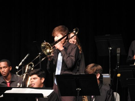 Sam soloing during the Klein Collins Jazz Band concert.