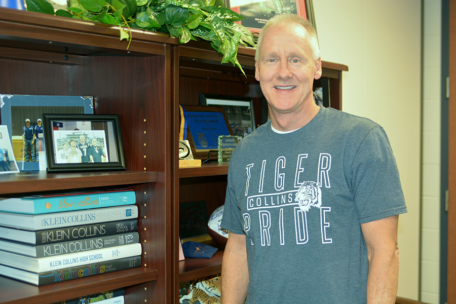 Principal Randy Kirk's office is filled with momentos from his time here at Klein Collins.