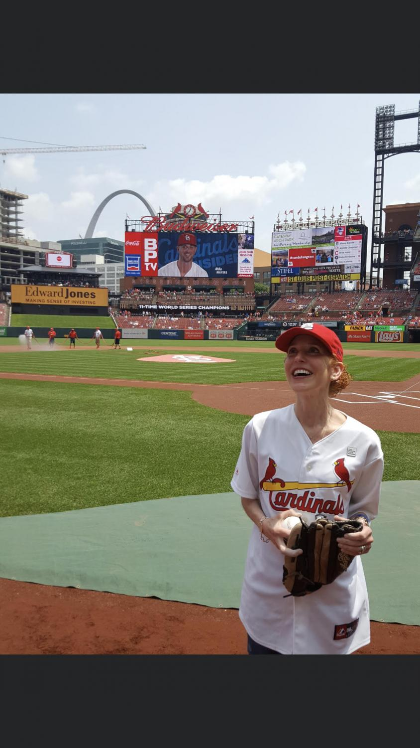 This summer, Marlin got the chance to throw out the first pitch at a Cardinal's game due to all her that work she's done for the Adult Congenital Heart Association.