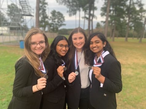 "This group, nicknamed the ""dream team,"" competed in Health Education and is moving on to compete at State April 1-3, 2020. Pictured left to right is Ashley Darla, Rhea Alex, Abigail Duplechin and Rachel Joseph."