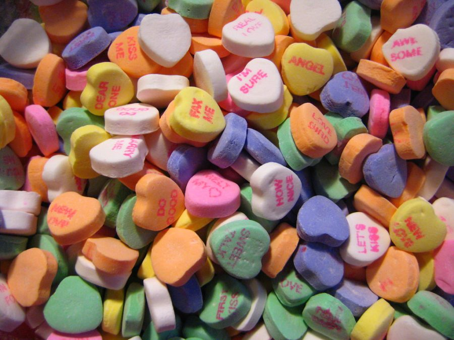 Message hearts are a popular candy given out during Valentine's Day