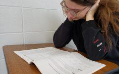 Junior Isabel Spencer studies for the SAT.