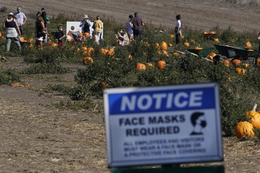 A sign in front of a pumpkin patch reminds customers to wear a mask.