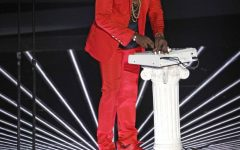 Kanye West performing the song Runaway at the 2010 MTV Video Music Awards on September 12 2010 at The Nokia Theatre in Los Angeles, California.