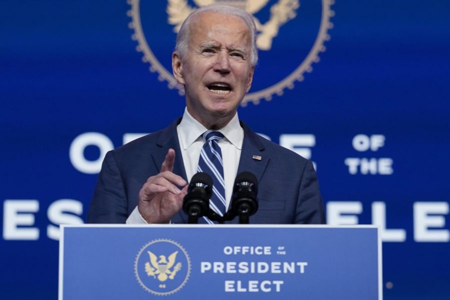 President elect, Joe Biden speaking at The Queen Theater on November 10, 2020