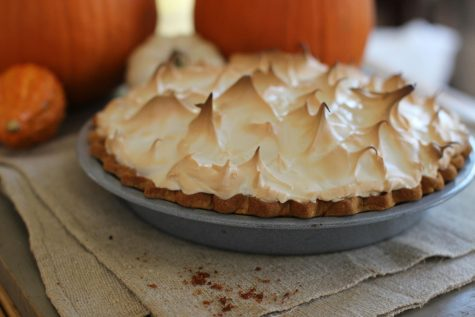 October 12, 2015 photo shows a fall themed citrus pumpkin meringue pie.