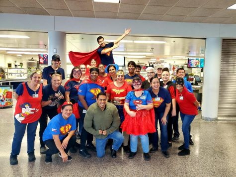 The Food Services Staff dressing up for Klein Collins Spirit Day.