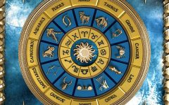 A picture of the 12 different zodiac signs on an aesthetically pleasing pinwheel.