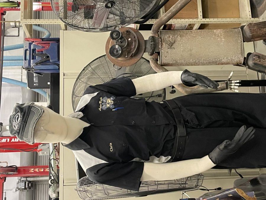 (Photo of the Day 10/1/21)Chris is taking the mannequin challenge to the next level with his massive style in Welding class.
